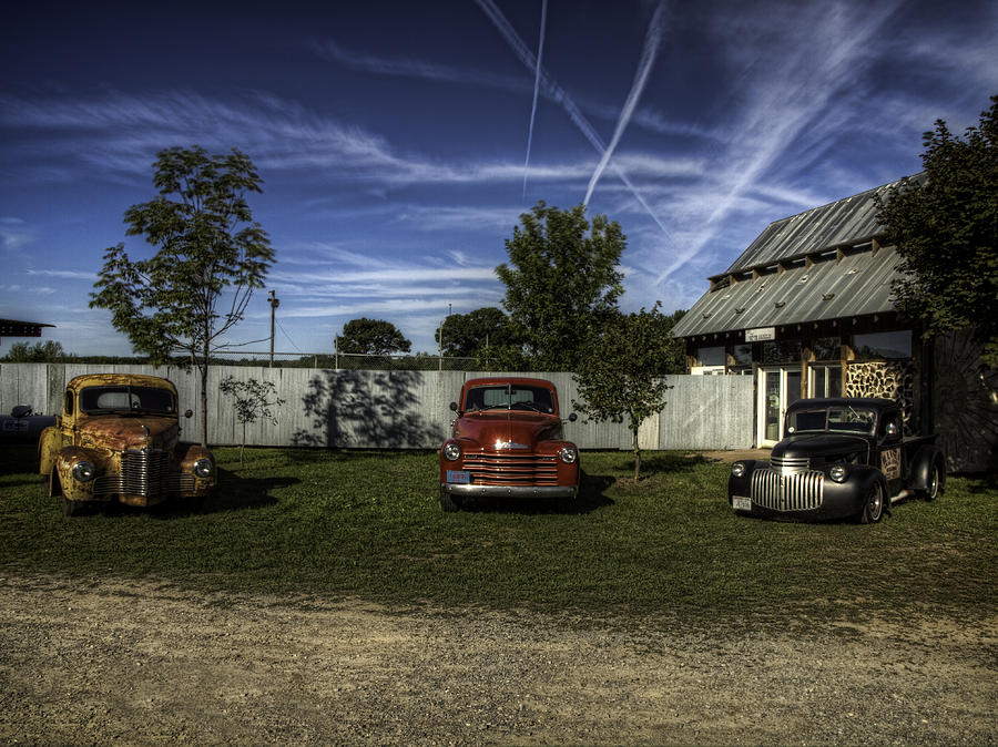 Old Trucks Photograph - Three Old Timers by Thomas Young