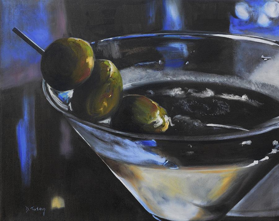Olive Painting - Three Olive Martini by Donna Tuten