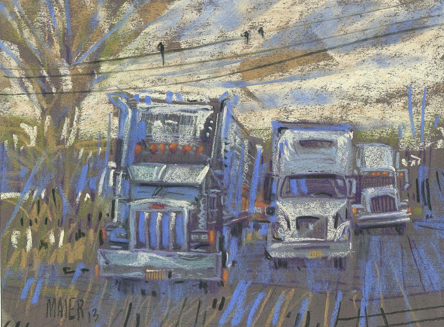 Trucks Painting - Three On A Wire by Donald Maier