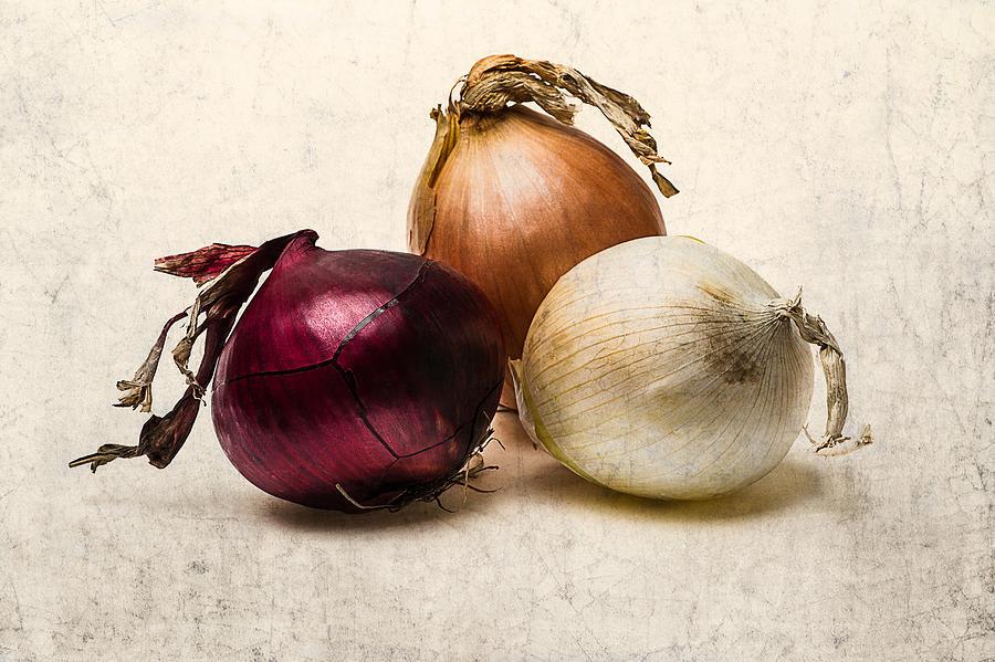 Onion Photograph - Three Onions - 1 by Alexander Senin