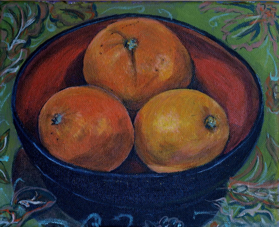 Three Painting - Three Oranges by Vera Lysenko