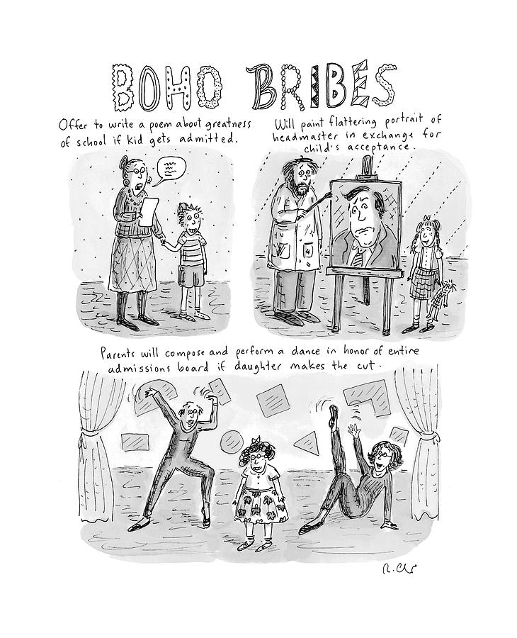 Three Panel Cartoon About What Boho Parents Drawing by Roz Chast
