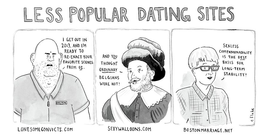 Three Panel Cartoon Of Online Dating Profiles Drawing by Emily Flake