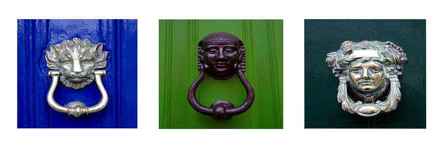 Uk Door Knockers Photograph - Three Panel Door Knockers by Tony Grider