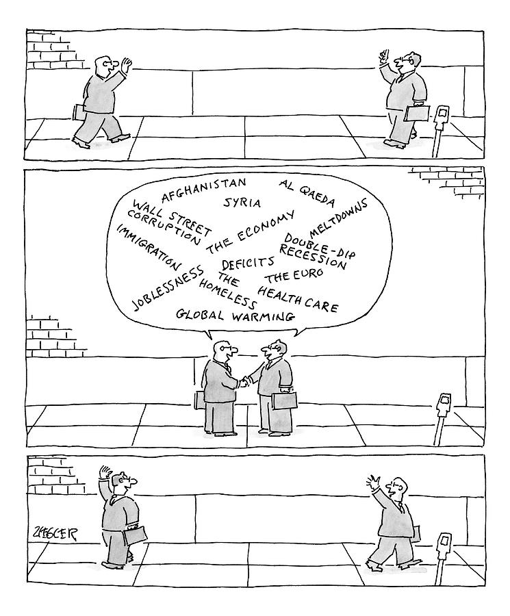 Three Panels. First: Two Businessmen Greet Each Drawing by Jack Ziegler