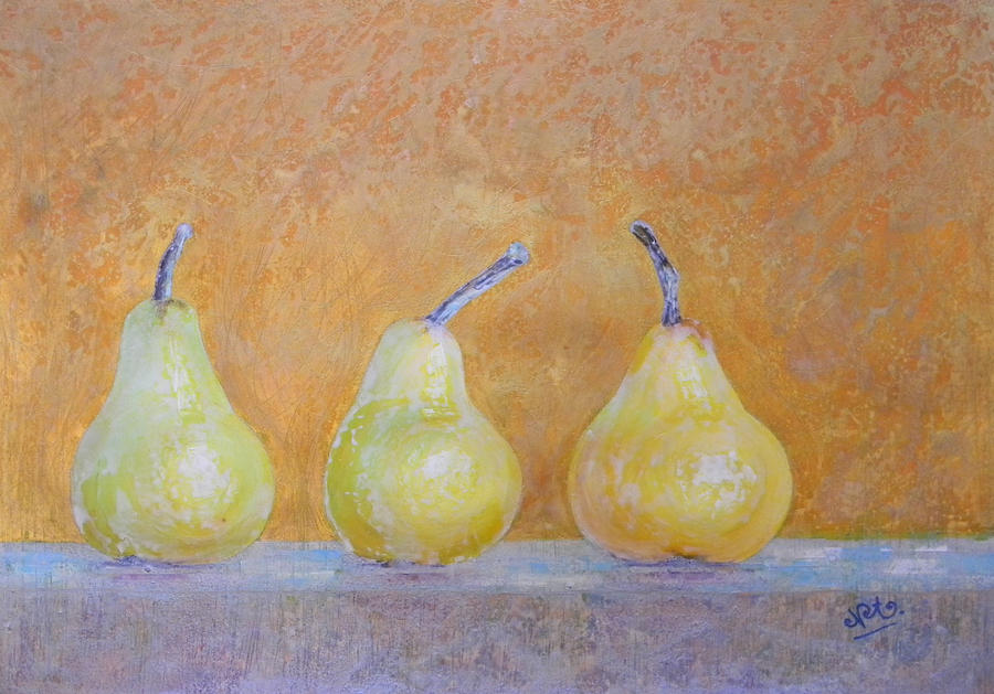 Food And Beverage Painting - Three Pears by Adel Nemeth