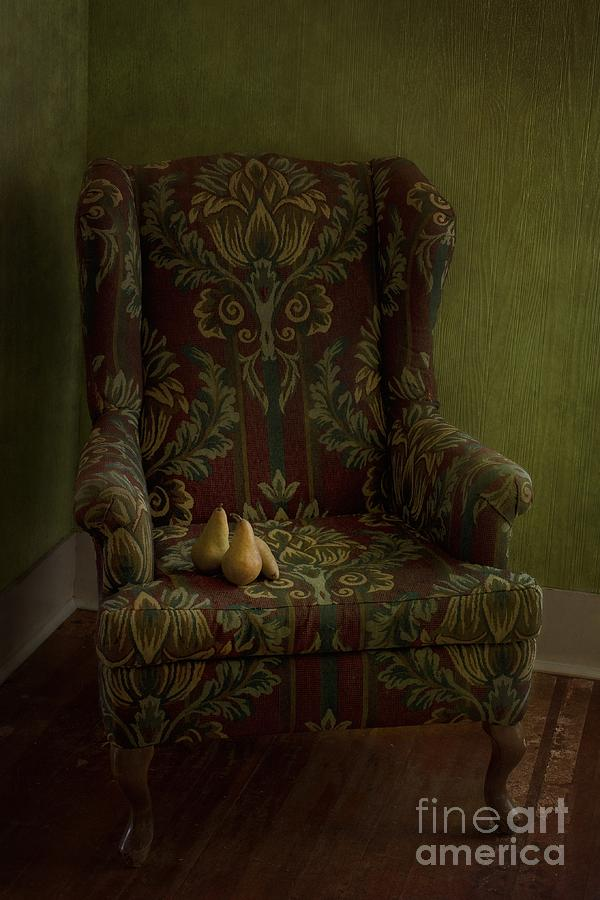 Chair Photograph - Three Pears Sitting In A Wing Chair by Priska Wettstein