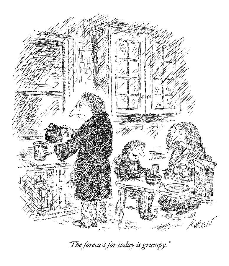 Three People Eat Breakfast In Their Kitchen Drawing by Edward Koren