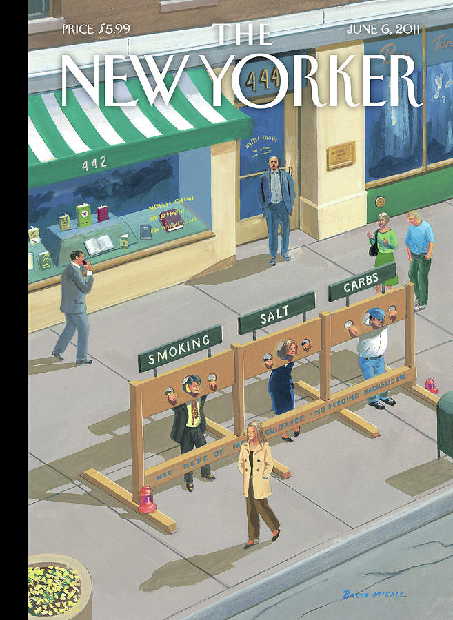 Three People In Stocks Which Read: Smoking Painting by Bruce McCall