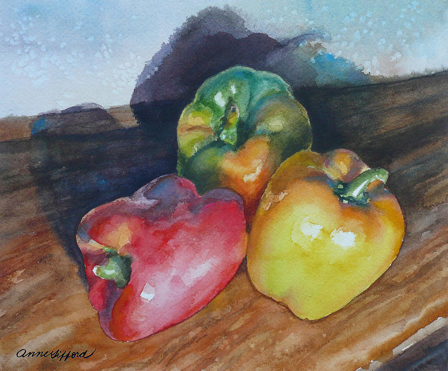 Watercolor Painting Painting - Three Peppers by Anne Gifford