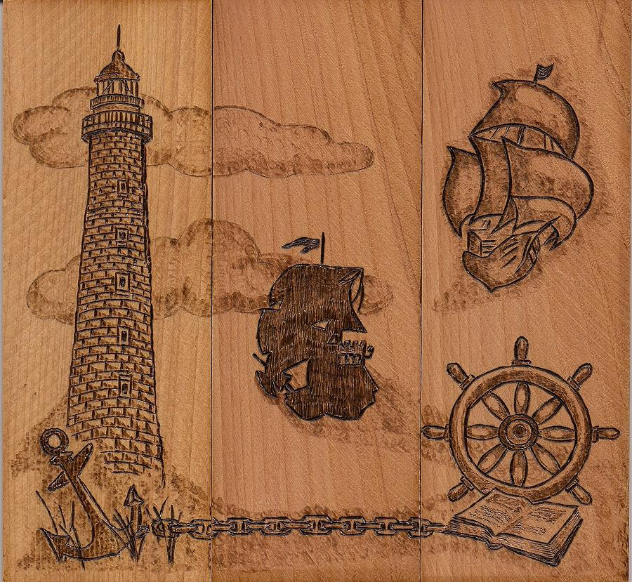 Light House Pyrography - Three Piece Composition by Vera White