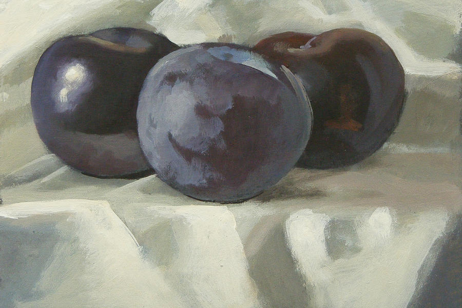 Plum Painting - Three Plums by Peter Orrock