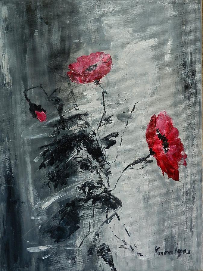 Poppies Painting - Three Poppies by Maria Karalyos