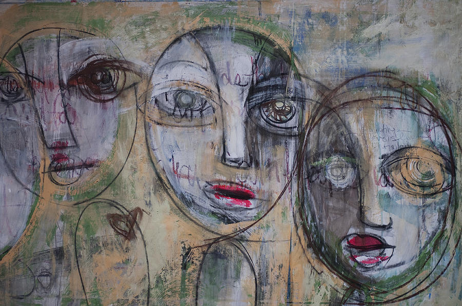 Pop Surrealism Painting - Three Portraits On Paper by Laurie Maves ART