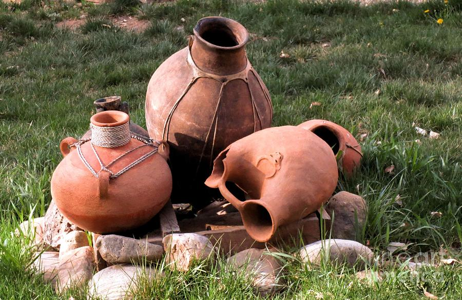 Southwest Art Photograph - Three Pots by Claudette Bujold-Poirier