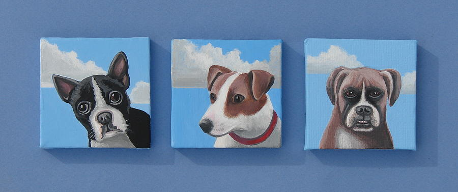 Dogs Painting - Three Pups by Stuart Swartz