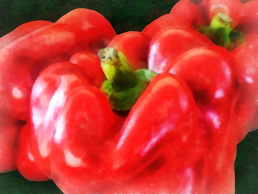 Pepper Photograph - Three Red Peppers by Susan Savad