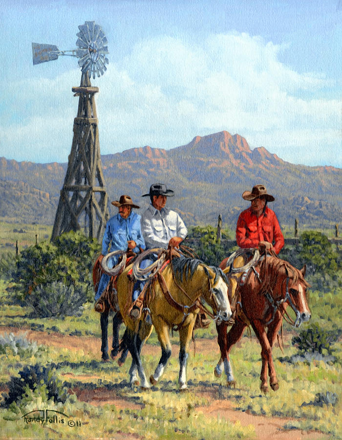 Cowboys Painting - Three Riders by Randy Follis