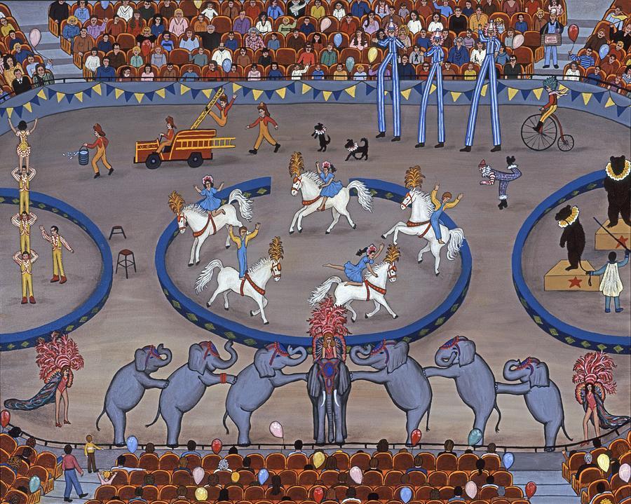 Folk Art Horses Painting - Three Ring Circus by Linda Mears