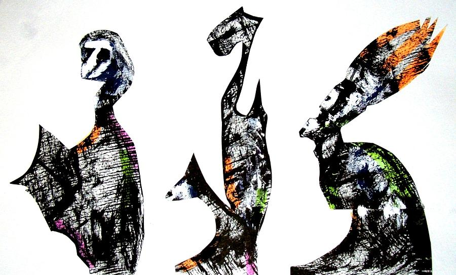 Neighbors Drawing - Three Roman Egyptians by Aquira Kusume