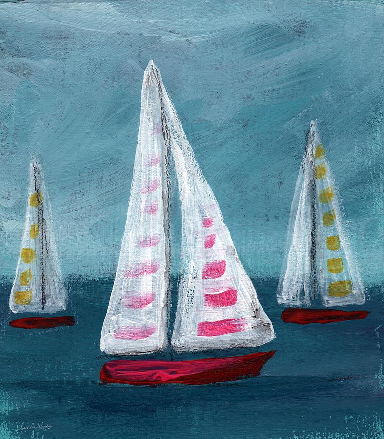 Boats Painting - Three Sailboats by Linda Woods