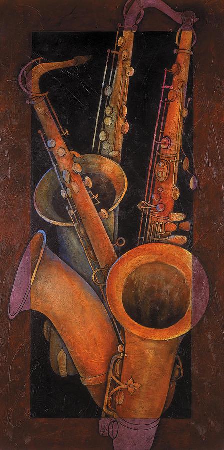 Musical Painting - Three Sax by Susanne Clark