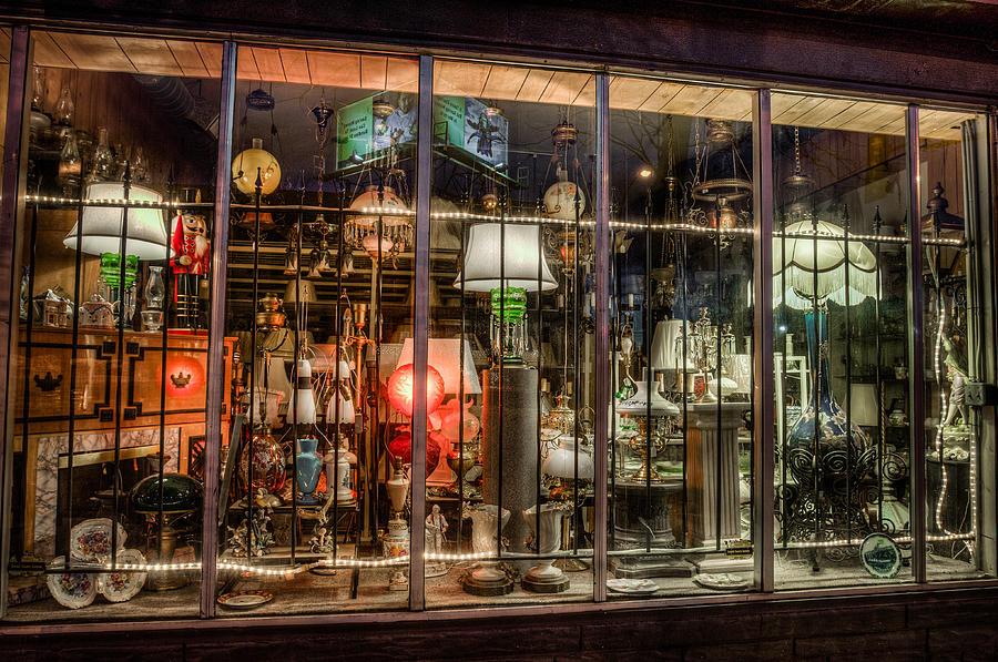 7th Street Photograph - Three Shade Lamp Store by Mark Goodman
