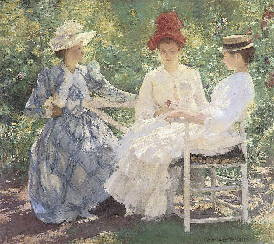 Three Sisters Painting - Three Sisters-a Study In June Sunlight by Edmund Charles Tarbell