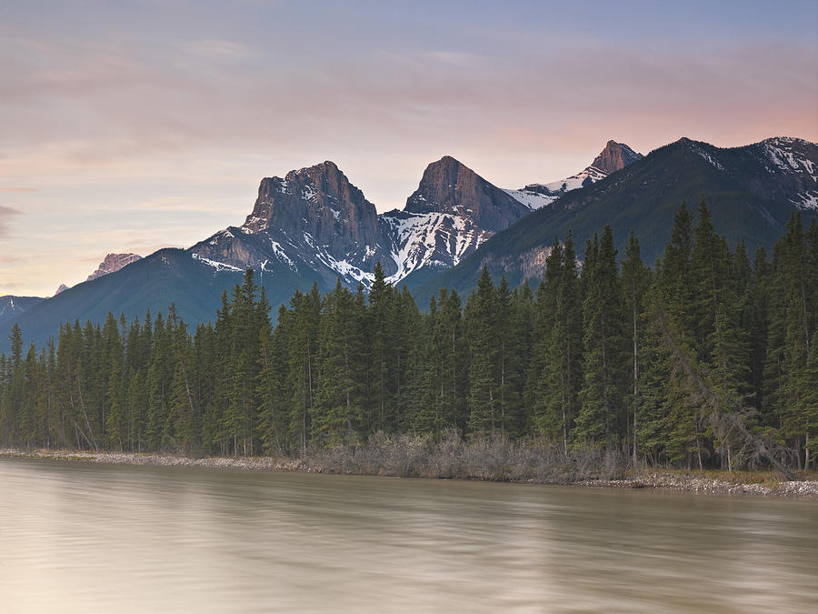 Canmore Photograph - Three Sisters And Bow River Canmore by Richard Berry