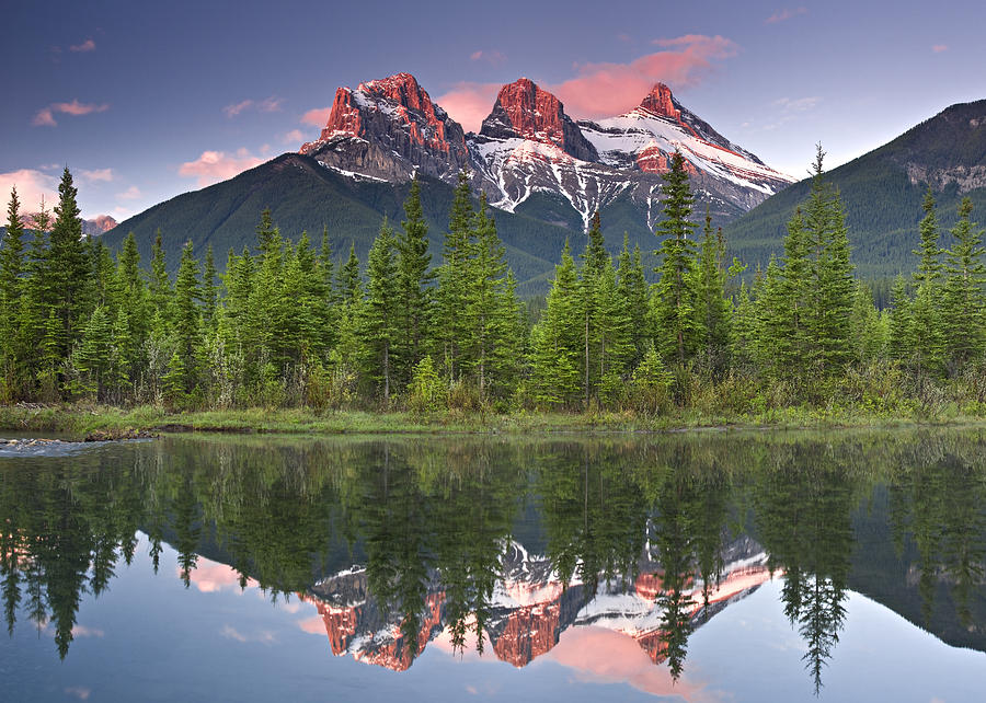 Canmore Photograph - Three Sisters reflection by Richard Berry