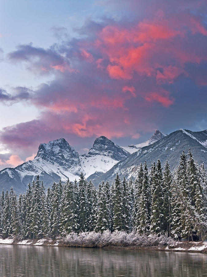 Canmore Photograph - Three Sisters winter sunrise by Richard Berry