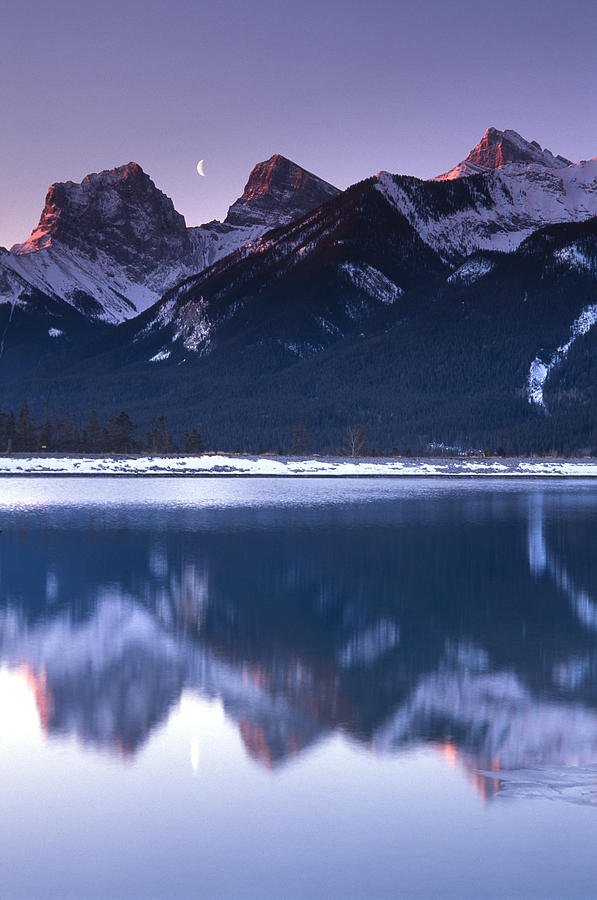 Canmore Photograph - Three Sisters With Crescent Moon by Richard Berry