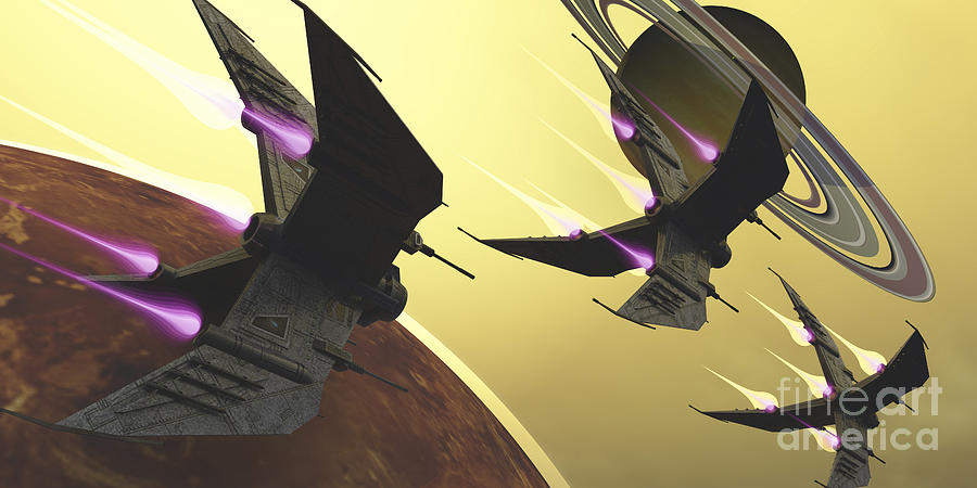 Three Spacecraft Pass By One Of Saturns Digital Art