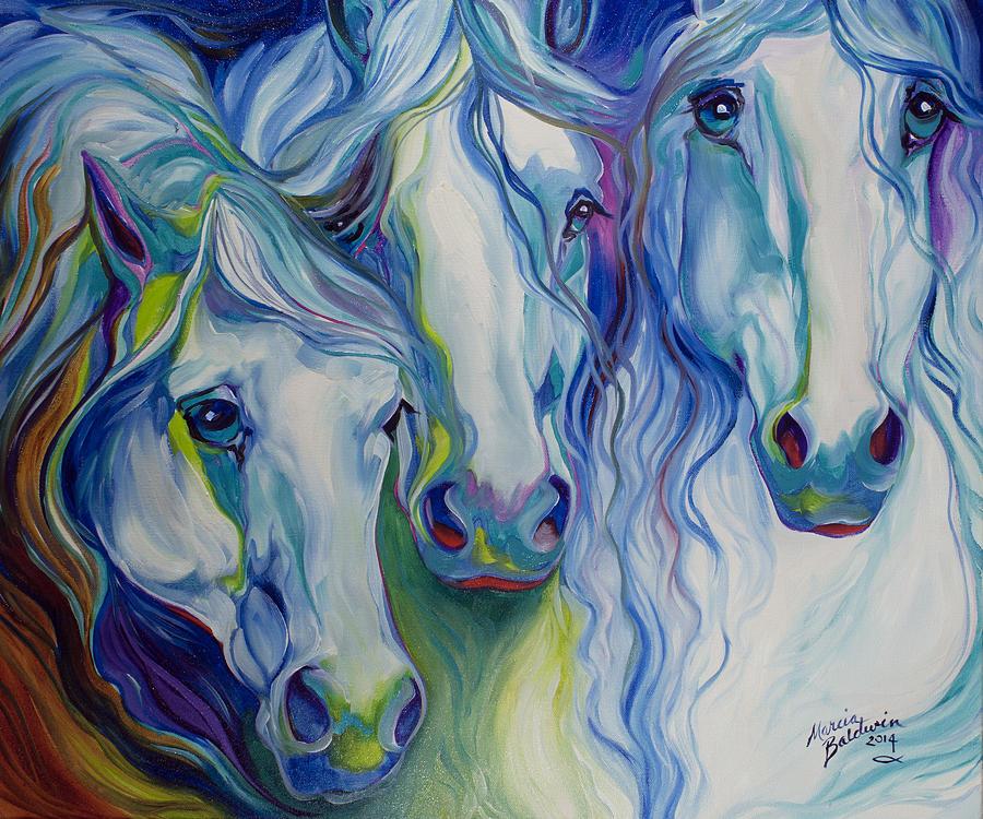 Three Spirits Equine Painting by Marcia Baldwin