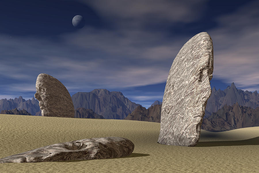 Three Stone Faces Lay Scattered Across A Desert Mountain Landscape Drawing by Rubberball/Clark Dunbar