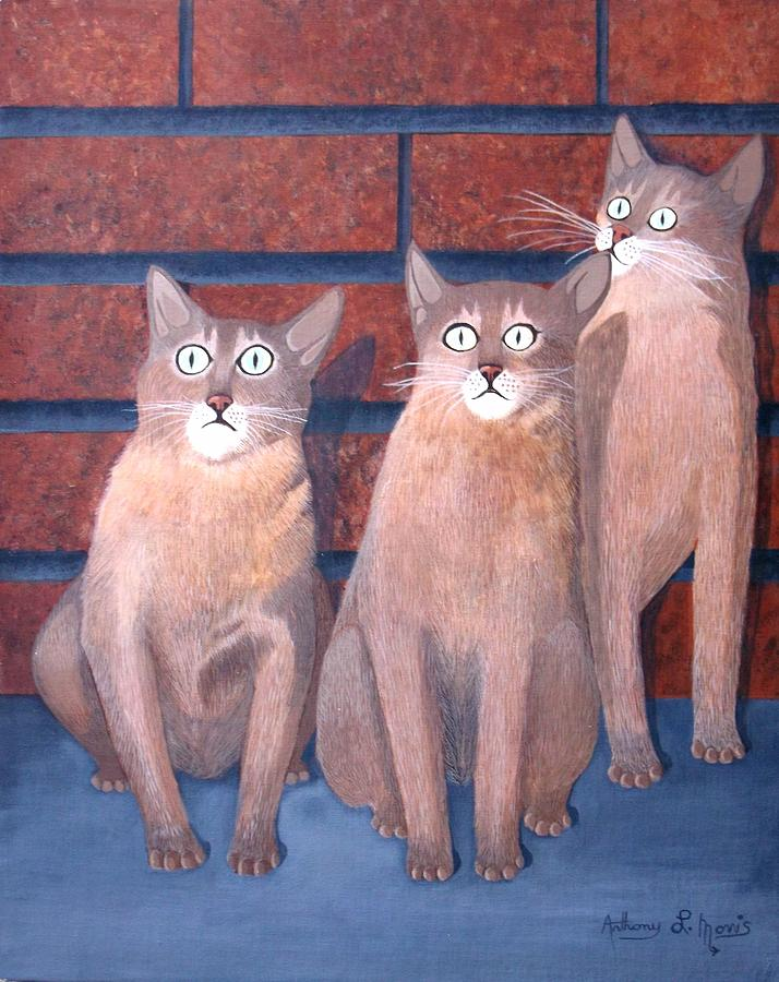 Cats Painting - Three Tan Cats by Anthony Morris