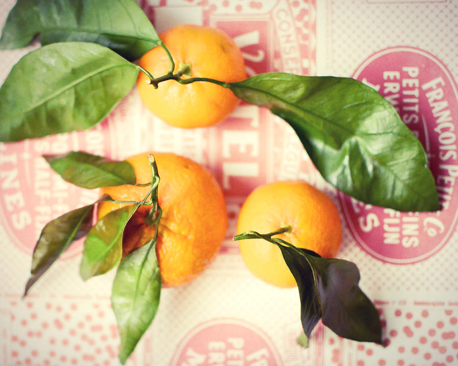 Tangerines Photograph - Three Tangerines by Lupen  Grainne