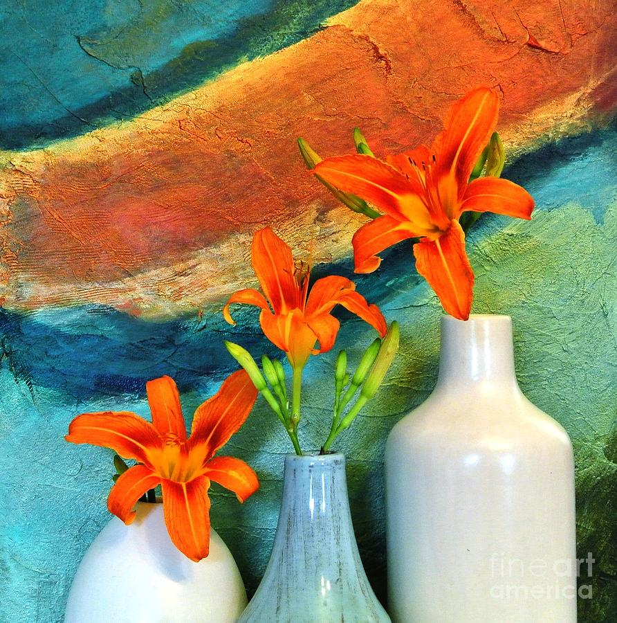 Photo Digital Art - Three Tigerlilies In A Vase by Marsha Heiken
