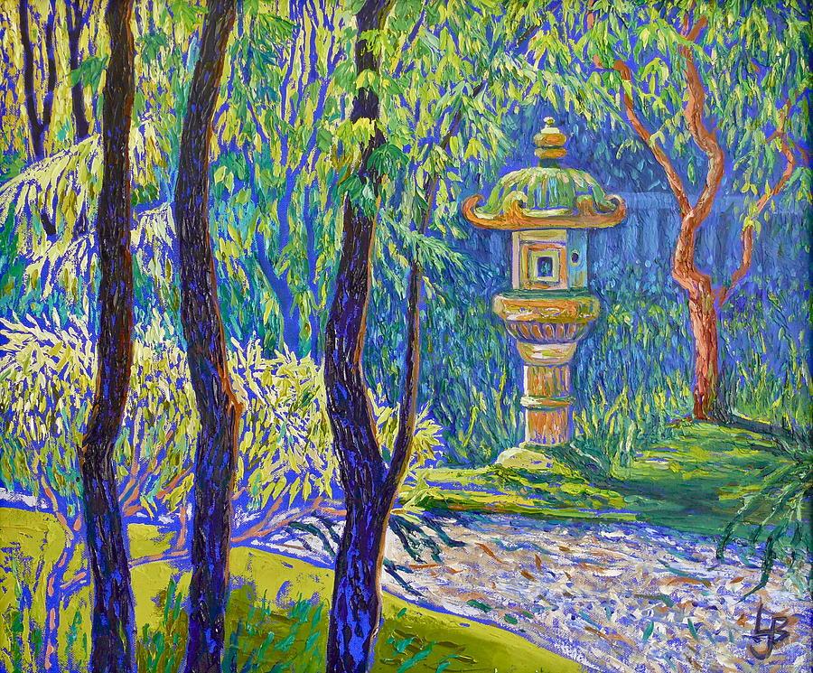 Three Trees and Japanese Lantern by Linda J Bean