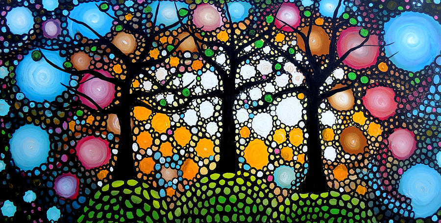 Fantasy Painting - Three Trees On A Hill by Shirley Smith