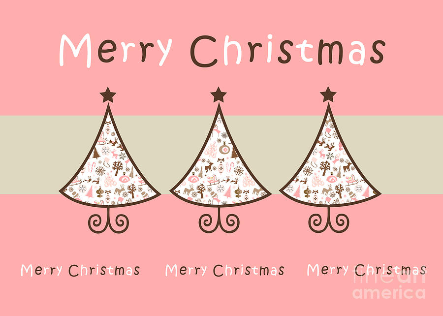 Three Trees Pink - Merry Christmas Greeting Card Digital Art by ...