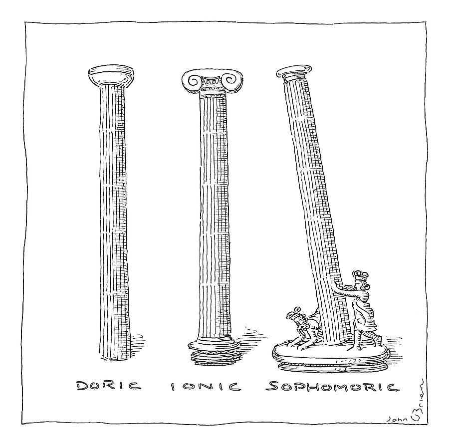 three types of columns drawing by john obrien