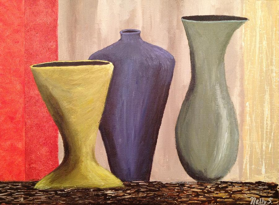 Three Vases Painting By Nelly Singh