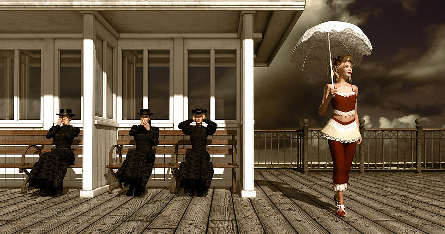 Three Victorian Ladies Sepia Mixed Media