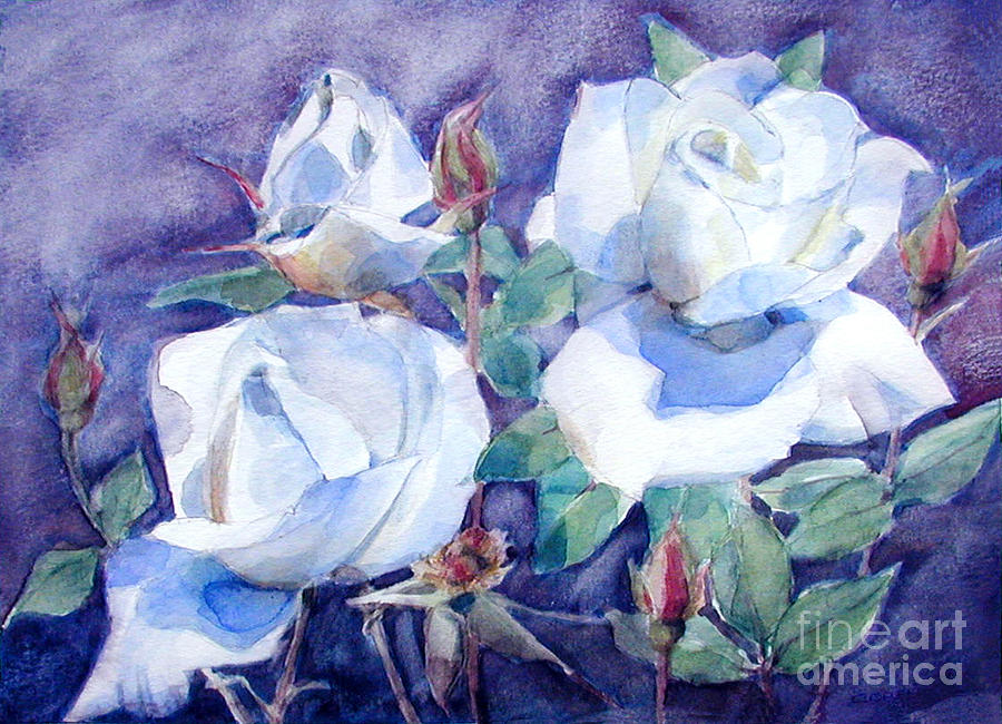 White Roses with Red Buds on blue field by Greta Corens