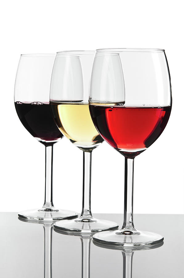 Three Wine Glasses, White, Red And Rose Photograph by Domin domin
