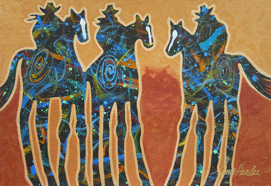 Contemporary Western Painting - Three With Rope by Lance Headlee