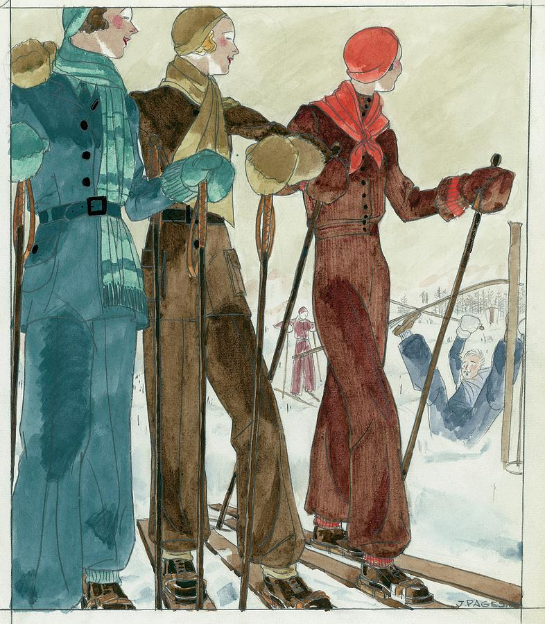 Three Women On The Ski Slopes Wearing Suits Digital Art by Jean Pages