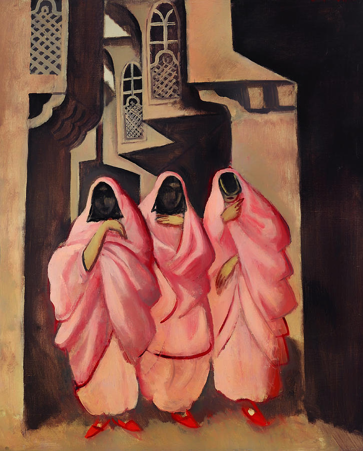 Painting Painting - Three Women On The Street Of Baghdad by Mountain Dreams