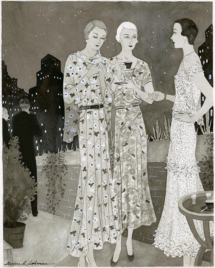 Three Women Outdoors Wears Jay-thorpe Digital Art by Barbara E. Schwinn